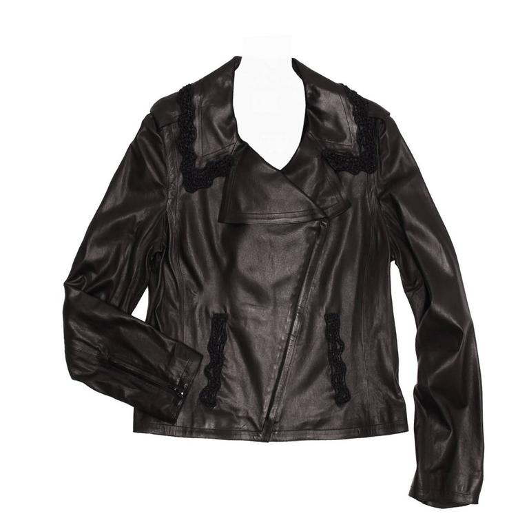 Chanel Black Leather & Lace Moto Style Jacket