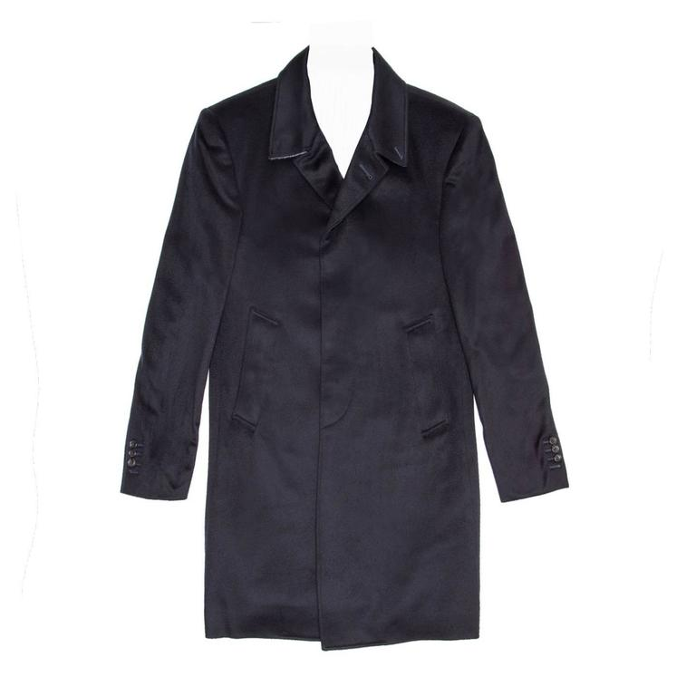Thom Browne Blue Cashmere Men's Coat