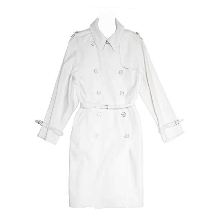 Hermès White Double Breasted Trench Coat