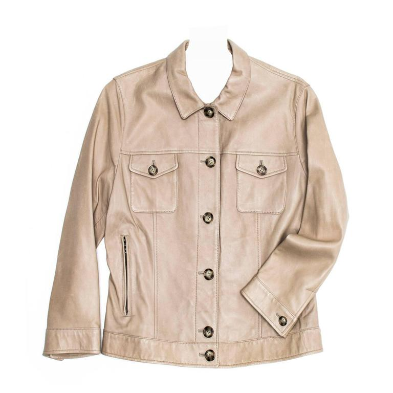 Prada Taupe Leather Trucker Jacket For Sale