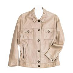 Prada Taupe Leather Trucker Jacket
