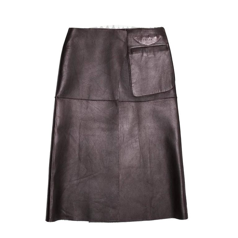 Prada Brown Reversible Leather & Camel Skirt For Sale