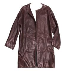 Balenciaga Brown Leather Collarless Coat