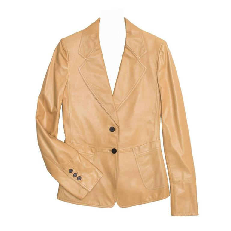 Yves Saint Laurent Tan Kangaroo Leather Fitted Blazer For Sale