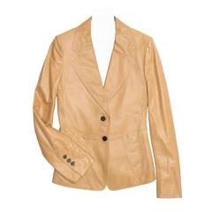 Yves Saint Laurent Tan Kangaroo Leather Fitted Blazer
