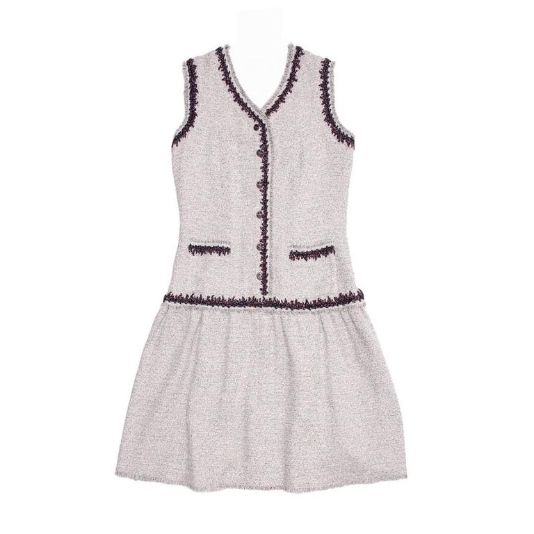Chanel Silver & Burgundy Drop Waisted Sleeveless Dress