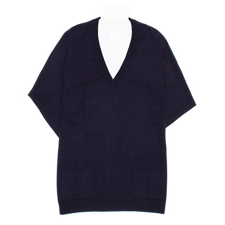 Chanel Navy Cashmere Short Kimono Style Sleeved Sweater For Sale