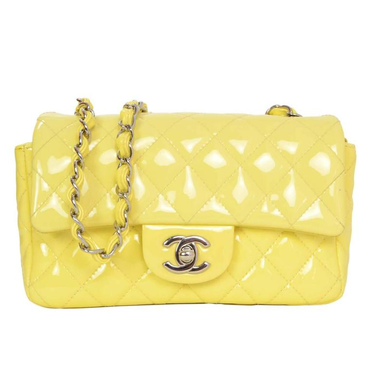 28c7737167c45b Chanel '15 Yellow Patent Quilted Rectangular Mini Flap Bag SHW For Sale