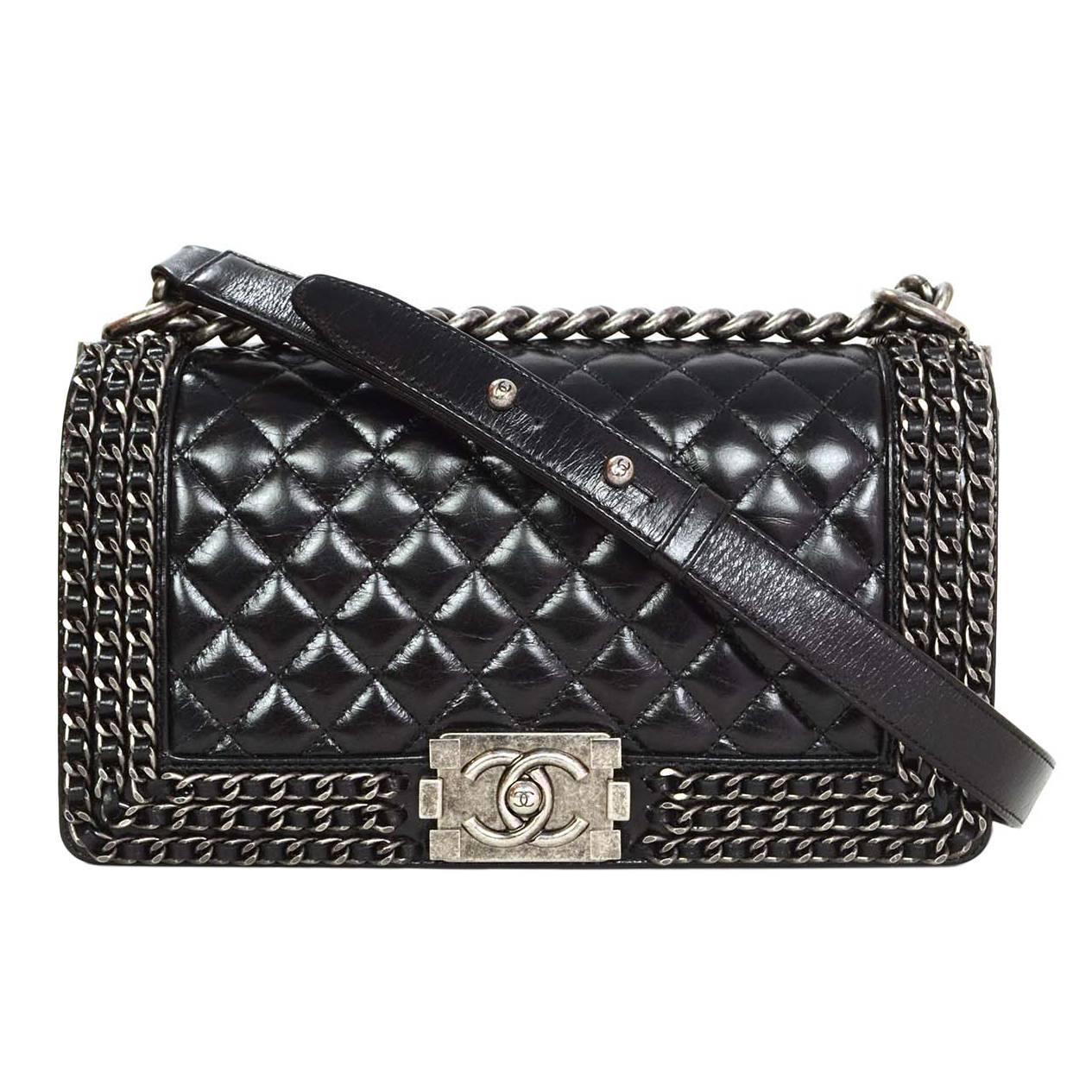 Chanel 15 Black Distressed Leather Chain Around Medium Boy Bag Shw At 1stdibs