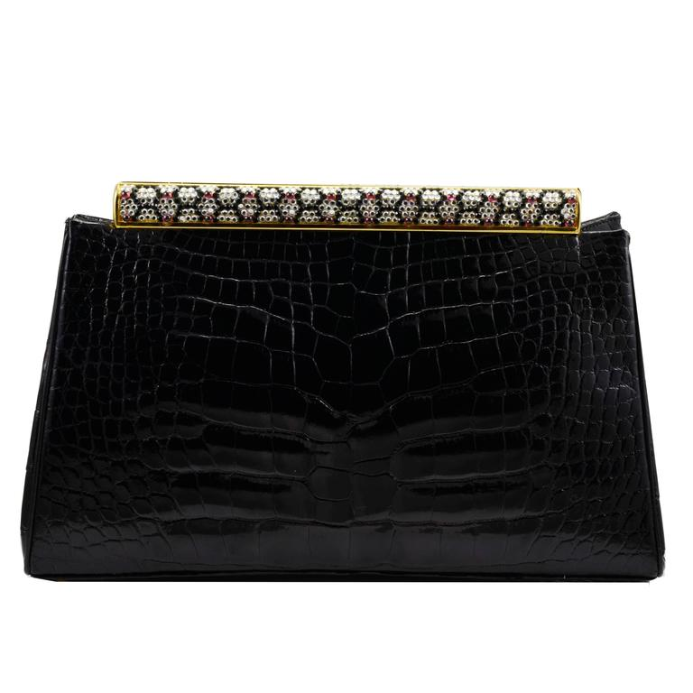 Iconic Judith Leiber Alligator Bag with Jewel Encrusted Frame For Sale