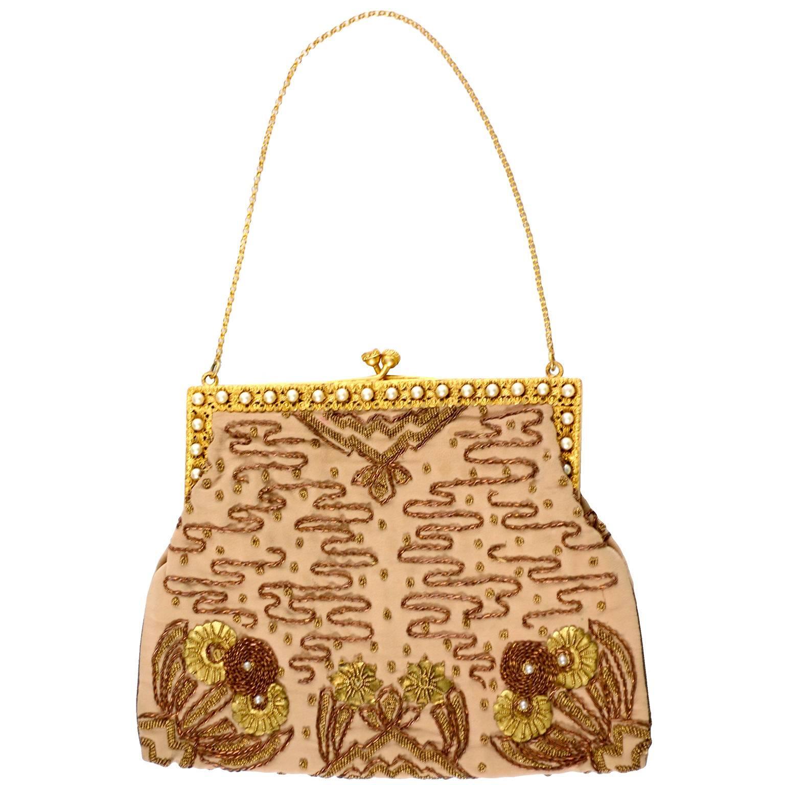 French Vintage Evening Bag Handbag Metallic Embroidery Beaded Pearls Gold Silk