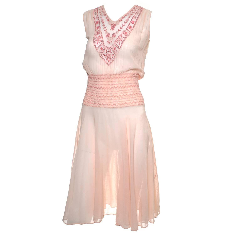 Bohemian s vintage dress cotton voile smock pleating