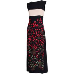 Galanos Sleeveless Silk Hand-Painted Floral Cocktail Dress Evening Gown