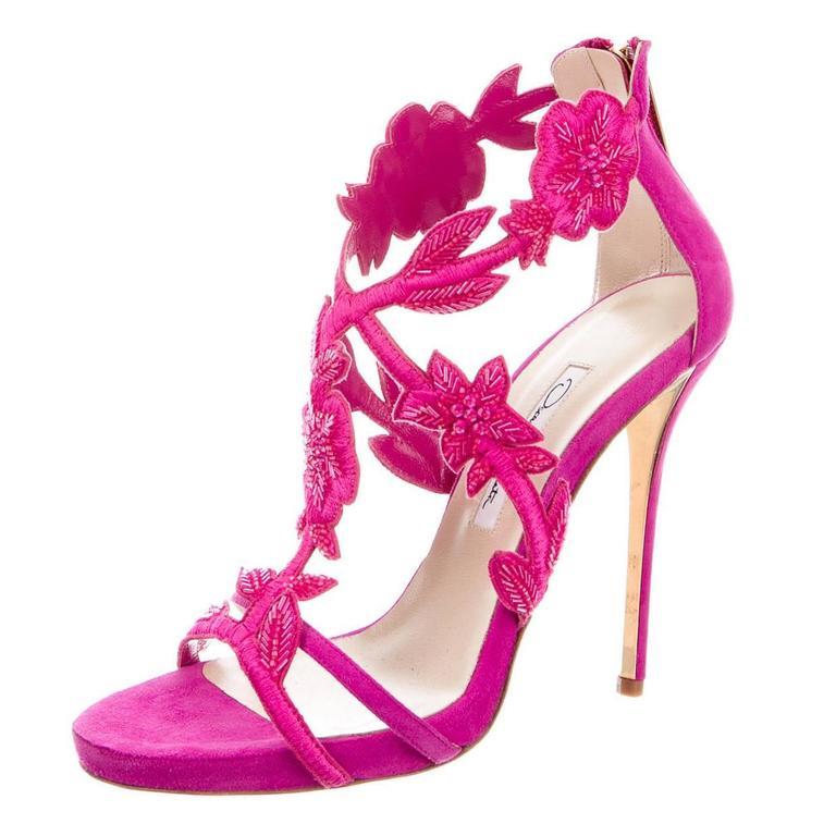Oscar de la Rental NEW Pink Suede Bead Floral High Heels Sandals in Box 1