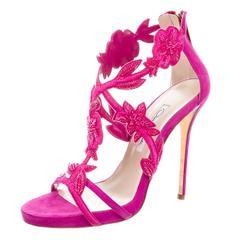 Oscar de la Rental NEW Pink Suede Bead Floral High Heels Sandals in Box