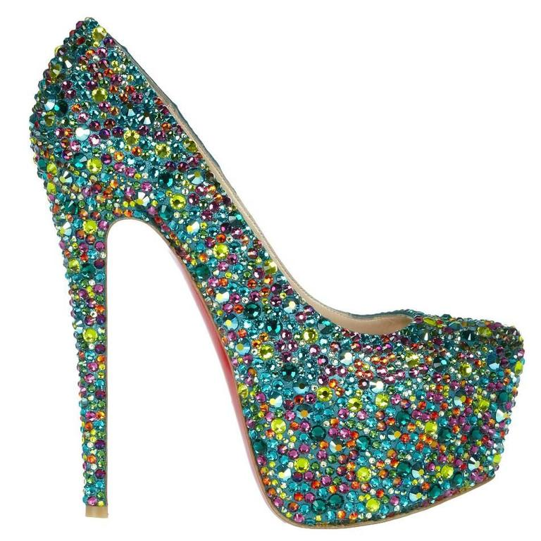 hot sale online 476ba 7da31 Christian Louboutin NEW and RARE Green Multi Color Crystal High Heels Pumps