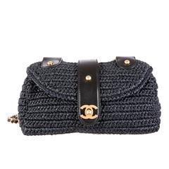 Chanel Navy Blue Straw Raffia and Leather Gold Hardware Flap Shoulder Bag