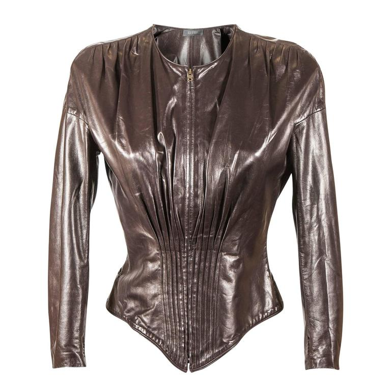 Tom Ford for Gucci Fall 2003 Brown leather corset jacket  For Sale