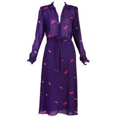 Hanae Mori Purple Lips Print Day Dress w/Deep V-Neckline & Self-Tie Belt