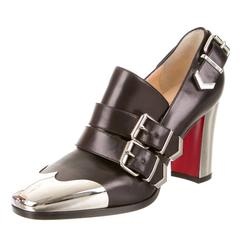 Christian Louboutin NEW Black Leather Mirror Metal Heels Loafers Pumps in Box
