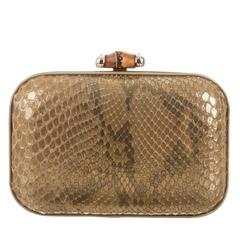 Gucci Metallic Brown Nude Python Leather Bamboo Minaudière Evening Clutch Bag
