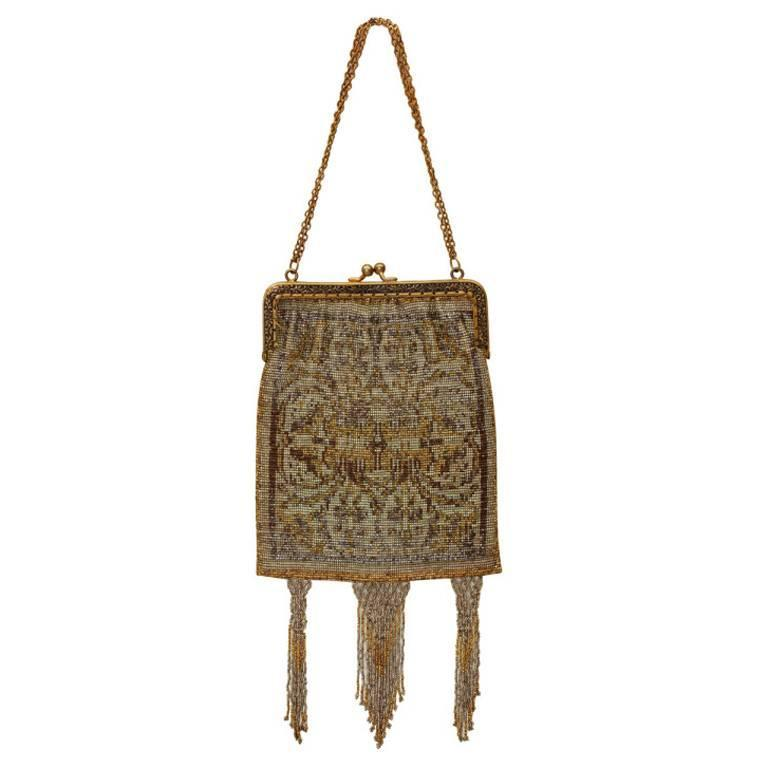 1920s Gilt Frame Beaded Flapper Bag For Sale