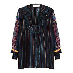 1970s Zandra Rhodes Multicolour Striped and Handpainted Blouse