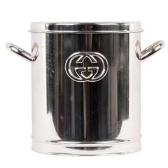 GUCCI VINTAGE Silver Metal ICE BUCKET Wine Cooler w/ GG LOGO