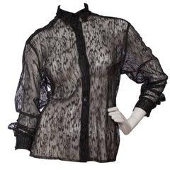90s Alaïa Black Lace Shirt