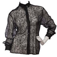 90s Alaïa Black Lace Shirt