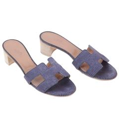 HERMES PARIS Light Blue OASIS SANDALS Shoes SLIDES Size 36 w/ BOX