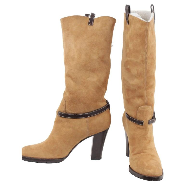 gucci beige suede heeled boots shearling lining gg logo