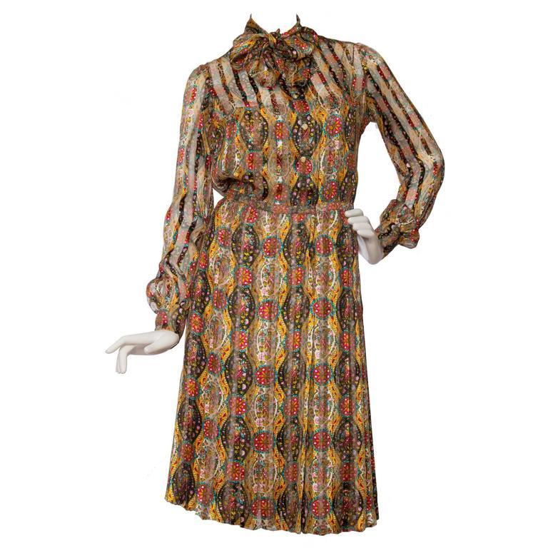 60s Chanel Haute Couture Silk Paisley Dress