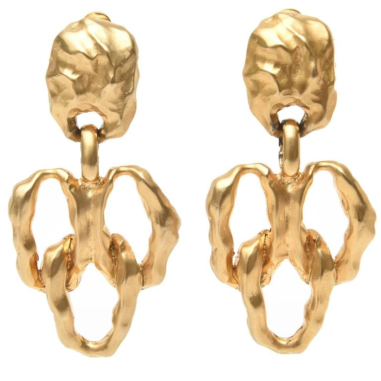 Gold Plated Textural Pair of Sculptural Clip On Dangle Earrings For Sale