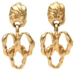 Gold Plated Textural Pair of Sculptural Clip On Dangle Earrings /SALE