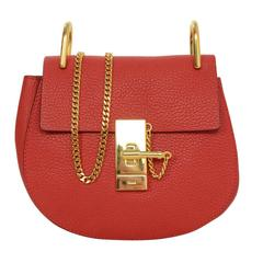 Chloe Red Leather Drew Mini Crossbody Bag GHW