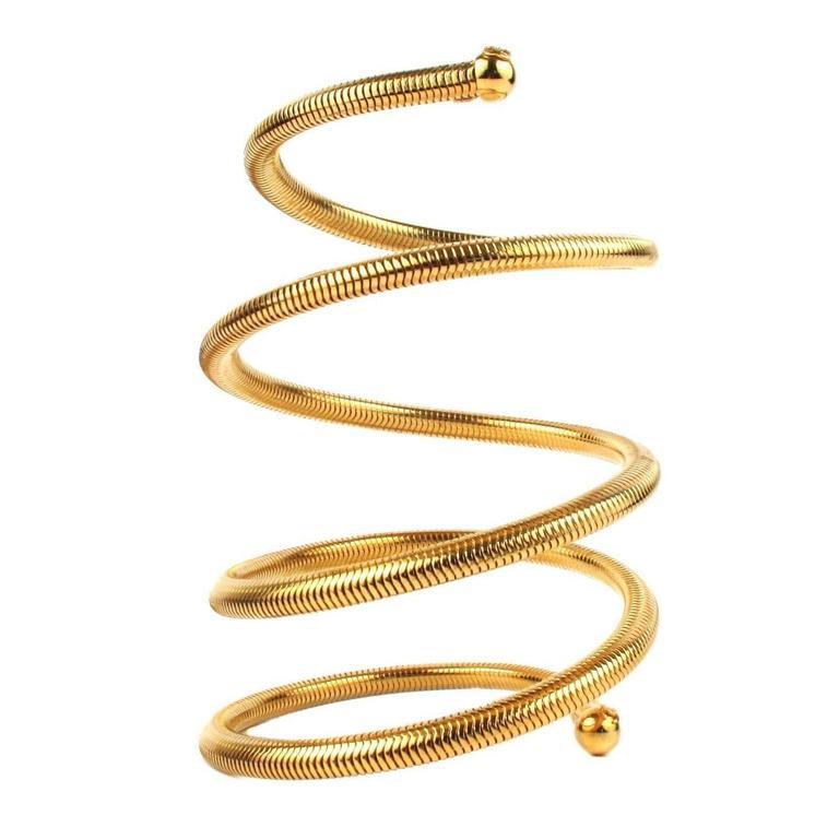 Chanel 1997 Spring Gold Tone Coil Arm Bracelet  1