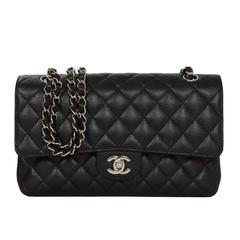 "Chanel Black Quilted Caviar Double Flap 10"" Medium Classic Bag"