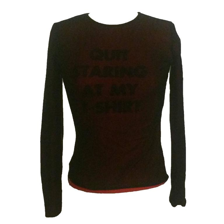 Moschino Cheap and Chic Black Red Mesh Quit Staring at My T-Shirt Blur Top 1990s