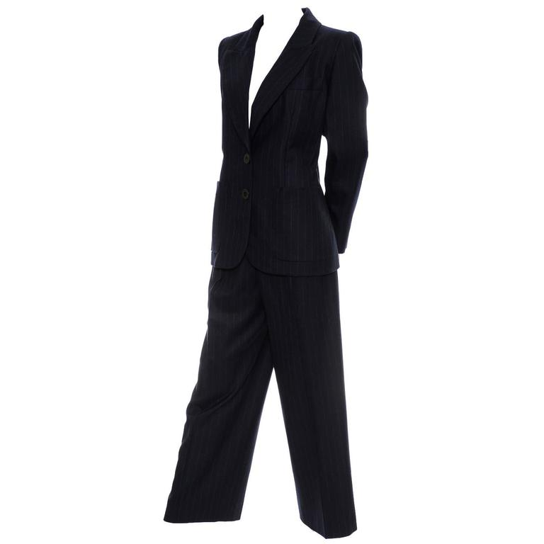 Yves Saint Laurent YSL Vintage Pinstripe Trouser Pant Suit in Cashmere & Wool 40