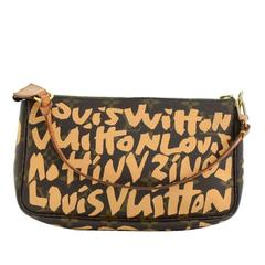 Louis Vuitton Pochette Accessories Beige Graffiti Monogram Canvas Bag