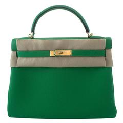 Hermes Handbag Kelly 32 Togo Bambou Gold Hardware