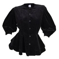 1980s Emanuel Ungaro Black Velvet Peplum Jacket