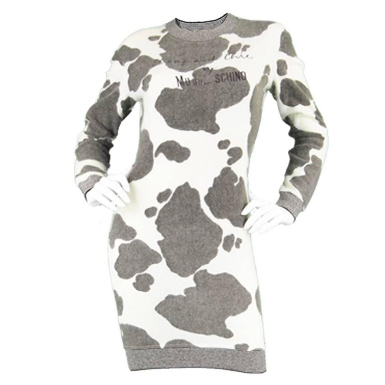 1980 s Moschino Cow Print Fuzzy Sweater Dress For Sale at 1stdibs b2c6b9f44