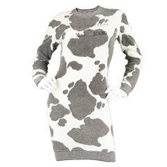 1980's Moschino Cow Print Fuzzy Sweater Dress