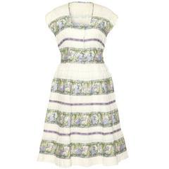 1950s Novelty Austrian Style Musical Themed Cotton Dress