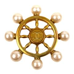 Chanel 1994 Spring Ship Wheel Pearl Brooch