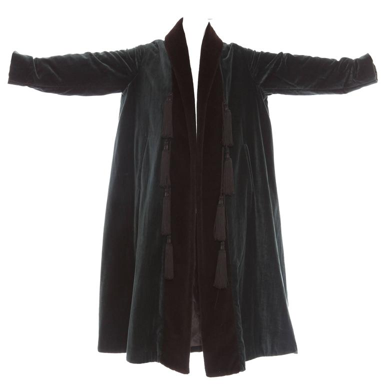 Black Romeo Gigli Cotton Velvet Swing Coat With Embellished Tassels, Circa 1980's For Sale