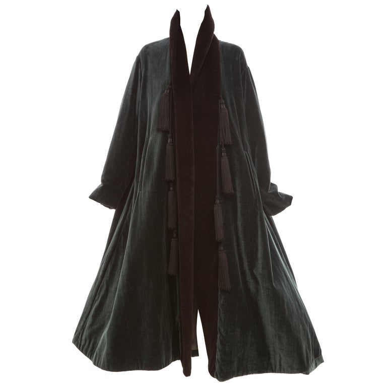 Romeo Gigli Cotton Velvet Swing Coat With Embellished Tassels, Circa 1980's For Sale