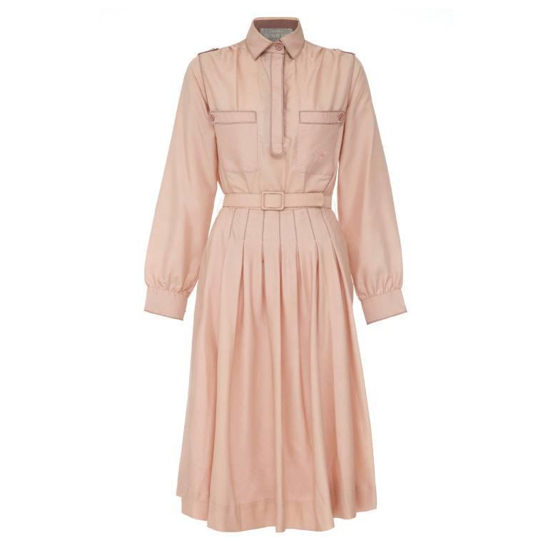 1970s Early Label Bluemarine Pale Pink Silk Shirt Dress For Sale
